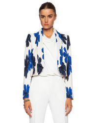 Chloé - Blue Hand Drawn Flowers On Silk Crepe De Chine Jacket - Lyst