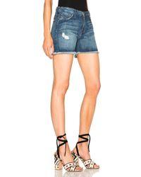 Current/Elliott Blue Vintage Straight Cut Off Shorts