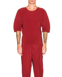Homme Plissé Issey Miyake - Red Shirt - Lyst
