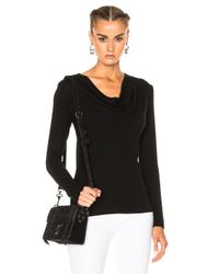 James Perse | Black Cowl Neck Tee | Lyst