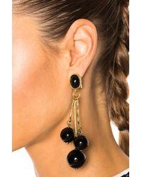 Oscar de la Renta | Black Resin 3 Ball Drop Earring | Lyst
