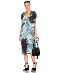 Raquel Allegra | Blue Shirred Combo Dress | Lyst