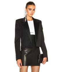 Saint Laurent | Black Satin Lapel Tux Jacket | Lyst