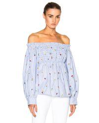 SUNO   Blue Smocked Off Shoulder Embroidered Top   Lyst