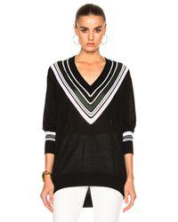 Victoria, Victoria Beckham | Black Oversize V Neck Sweater | Lyst