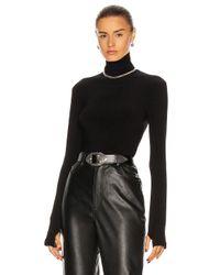 Norma Kamali Black Slim Fit Long Sleeve Turtleneck Top