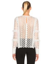 Self-Portrait Daisy Frill Detail Top In White
