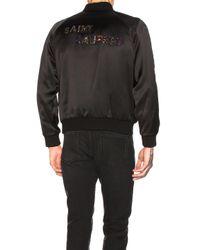 Saint Laurent Black Teddy Varsity Jacket for men