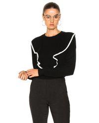 Chloé - Black Cashmere Cotton Ruffle Front Sweater - Lyst