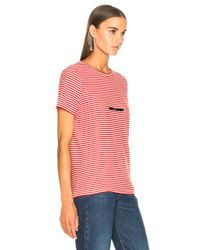 Saint Laurent Red Striped Small Logo Tee