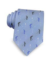 Marina D'este - Golf Player Light Blue Woven Silk Men's Tie for Men - Lyst