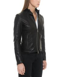 Forzieri - Black Padded Leather Women's Zippered Jacket - Lyst