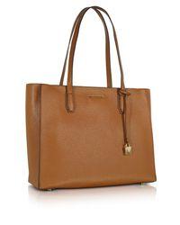 Michael Kors - Brown Mercer Large Acorn Pebble Leather Top Zip Tote Bag - Lyst