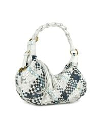 Fontanelli Blue & White Woven Leather East/west Hobo Bag