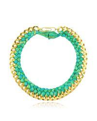 Aurelie Bidermann Green Do Brasil Gold And Cotton Necklace