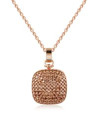 Azhar - Pink Cubic Zirconia And Sterling Silver Square Pendant Necklace - Lyst