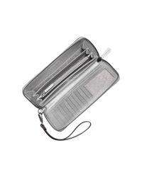 Michael Kors - Jet Set Travel Large Silver Metallic Leather Continental Wallet - Lyst