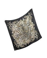 Roberto Cavalli - Natural Black Pattern And Leopard Print Silk Square Scarf - Lyst