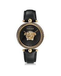 Palazzo Empire Reloj Unisex Negro de Acero Inoxidable con Correa de Cuero y Medusa Dorada Versace de color Metallic