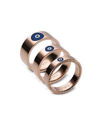 Emporio Armani - Metallic Rose Gold Stainless Steel Fashion Women's Triple Ring - Lyst