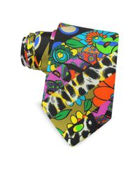 Moschino - Black Multicolor Animal Print & Flowers Printed Twill Silk Narrow Tie for Men - Lyst