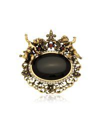 Alcozer & J | Metallic Golden Brass Gemstones With Little Angels Brooch | Lyst