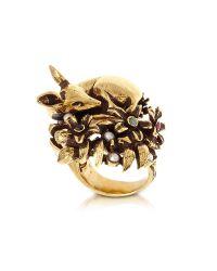 Alcozer & J - Metallic Fawn Goldtone Brass Ring W/glass Pearl - Lyst