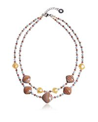 Antica Murrina | Metallic Millerighe 2 Double - Pastel Multicolor Murano Glass W/stripes And Gold Leaf Choker | Lyst