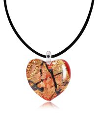 Antica Murrina - Passione - Red, Gold And Black Murano Glass Heart Pendant - Lyst