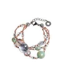 Antica Murrina | Redentore 1 - Pink And Green Murano Glass Drops & Silver Leaf Bracelet | Lyst