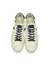 D'Acquasparta - Davis Distressed Off White Leather And Blue Nubuck Men's Sneaker for Men - Lyst