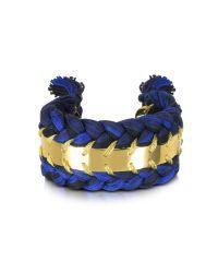 Aurelie Bidermann | Blue Copacabana Navy And Black Cotton Double Bracelet | Lyst