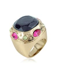 AZ Collection | Blue Large Crystal Stone Ring | Lyst