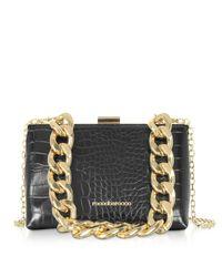 Rocco Barocco Black Pita Croco Embossed Eco-leather Shoulder Bag