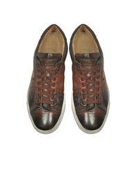 Santoni - Men's Brown Leather Sneakers for Men - Lyst