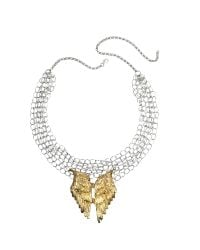 Bernard Delettrez - Metallic Silver Chains With Bronze Wings Necklace - Lyst