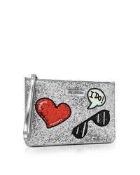 Love Moschino - Sparkling Metallic Silver Clutch - Lyst