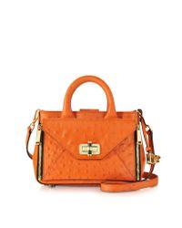 Diane von Furstenberg   Orange Embossed Ostrich Leather Mini Secret Agent Tote   Lyst