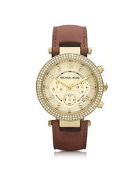 Michael Kors - Brown Mid-size Parker Chronograph Glitz Watch - Lyst