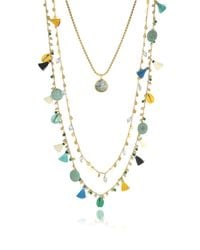 Tory Burch Blue And Vintage Gold Coin And Tassels Multi-layering Necklace