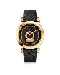 Ferragamo - Metallic Minuetto Gold Ip Stainless Steel Case And Black Saffiano Leather Strap Women's Watch W/black Guilloche' Dial - Lyst