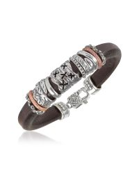 Tedora | Metallic Silver Band Leather Bracelet for Men | Lyst
