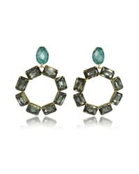 Tory Burch - Gray Vintage Goldtone Brass W/ Denim Blue And Smoke Crystals Clip On Earrings - Lyst