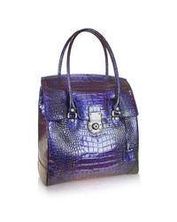 L.A.P.A. Blue Croco Stamped Leather Flap Tote Bag