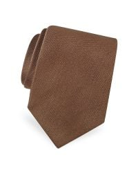 FORZIERI - Brown Gold Line Solid Woven Silk Tie for Men - Lyst