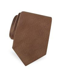 FORZIERI | Brown Gold Line Solid Woven Silk Tie for Men | Lyst