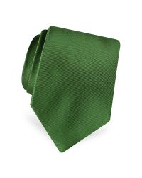 FORZIERI - Green Solid Pure Silk Satin Silk Tie for Men - Lyst