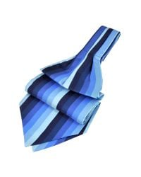 FORZIERI | Blue Vertical Stripe Tone On Tone Woven Silk Ascot for Men | Lyst