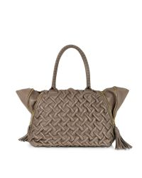 FORZIERI   Brown Taupe Pleated Leather Tote   Lyst