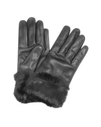 FORZIERI | Black Cashmere Lined Italian Leather Gloves With Fur | Lyst